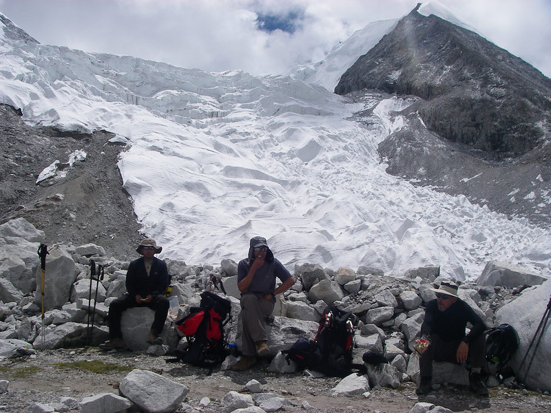 Rest on the hike to Advanced Base Camp (ABC)