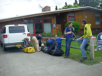 "June 23rd - Ready for departure- Anchorage, AK - In front of ""Earth Bed & Breakfast"" where we gathered and spent first night. From right: John DM (Rochester, NY), John W. and Tim O. (both from London, England). Four of us - mountain skiers and we are waiting our two guides: Durny D. and Doug W."