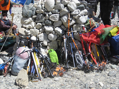 Climbing equipment for blessing during puja ceremony