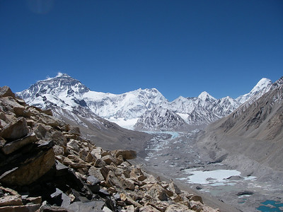 Mt Everest (8.850m = 29,035ft), Rongbuk glacier and Pumori (7.165m = 23,507ft) - very right.
