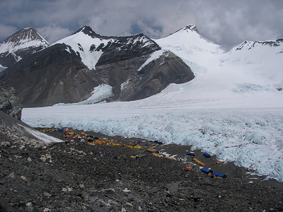 ABC (Advanced Base Camp) at 6.440 meters = 21,129 feet. Our tents are at very right