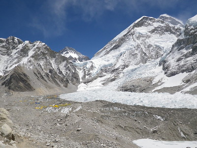 Everest Base Camp (BC) on Khumbu glacier at 5.364 m = 17,598 ft.