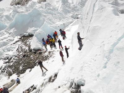 Practicing ice climbing