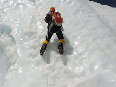 Me on the ice wall. Practicing ice climbing.