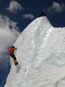 Practicing ice climbing.