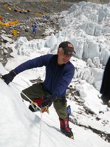 Bill Burke practicing ice climbing