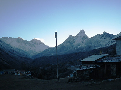Tengboche (12,664ft = 3.860m) - view towards north, uphill. From the right: Ama Dablam (22,493ft = 6.856m), Lhotse Shar (27,536ft = 8.393m), Lhotse (27,940ft = 8.516m), Everest (29,035ft = 8.850m), Nuptse (25,790ft = 7.861m).
