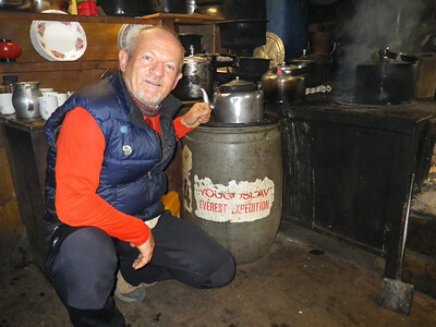 In the kitchen of Lama Geshe, the most popular Lama in Solu Khumbu Valley I found Yougoslav Everest Expedition barrel from 1979.!