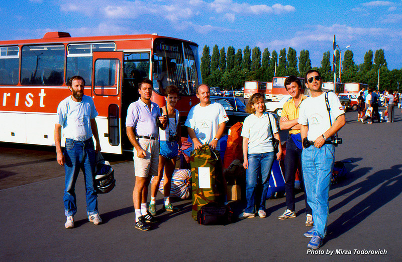 Team members from left to right: Muhamed Shishic - Hamo (Sarajevo), Dragan Zlatanovic - Zlaja (Belgrade), Edin Durmo (Zenica), Naim Logic (Sarajevo), two members of the Kiev group and far right Muhamed Gafic - Gafa (Sarajevo) leader of the expedition. Missing from the image is Mirza Todorovich (Tuzla), he is behind the camera. Image taken on the Kiev airport.