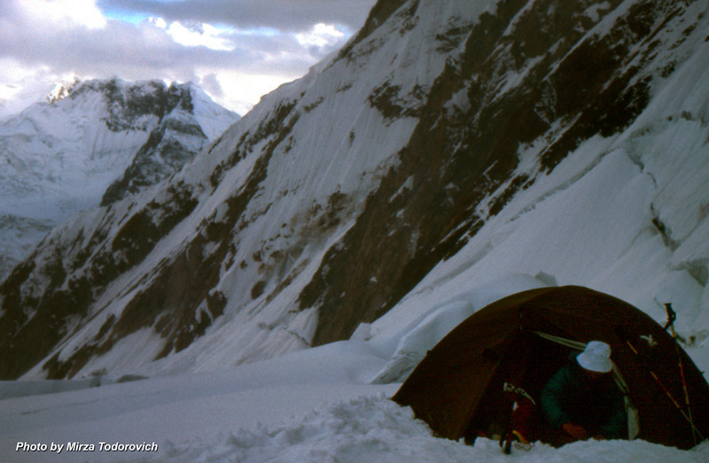 Camp 2, the next morning we needed to shake our tents to clean them from the new snow