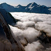 Sea of clouds covering the glacier.