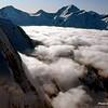 Sea of clouds covering the glacier.