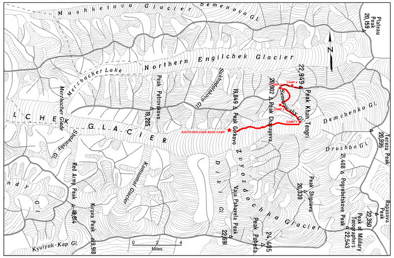 Area map with camps' locations and our route to Khan Tengri (in red). Star is showing our Base Camp location.