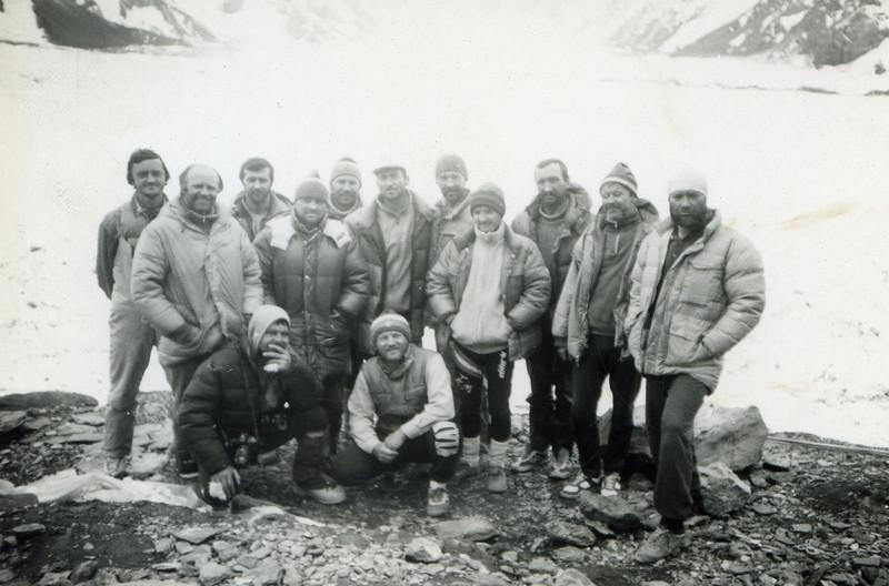 The group before leaving base camp Khan Tengri.