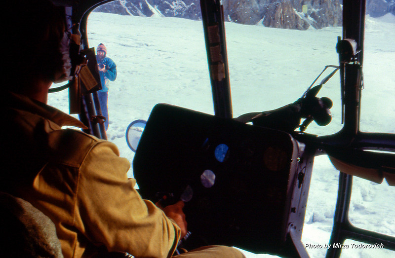 Helicopter landed first on the glacier. Muhamed Shishic taking pictures from outside.