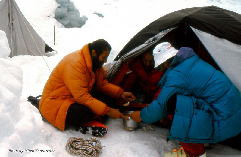 Food is very important part of the climbing process, and taste better if you share with friends. Hamo, Naim & Gafa enjoying high elevation meal at Camp 2
