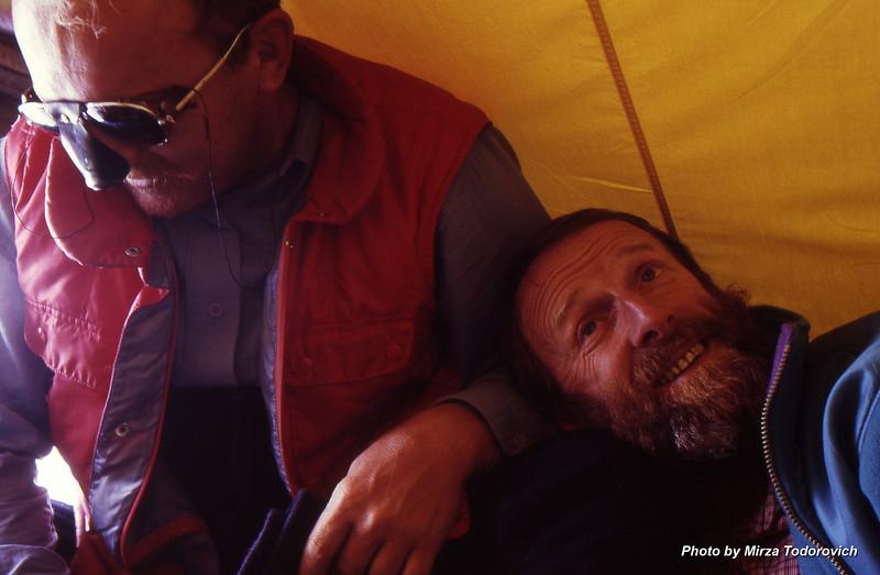 Naim & Hamo enjoying morning in the tent, Camp 2