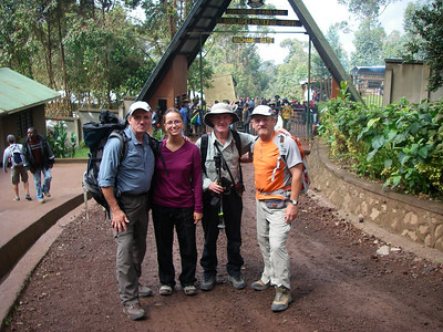 NABMA members at Machame gate. There are 6 different main routes - all lead through five climatic zones. Success rate - about 50%