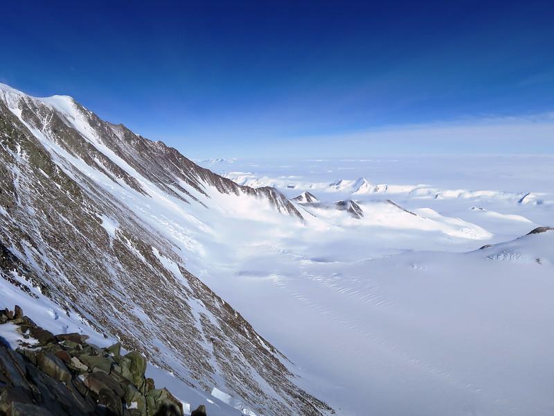 Branscomb Glacier way below us