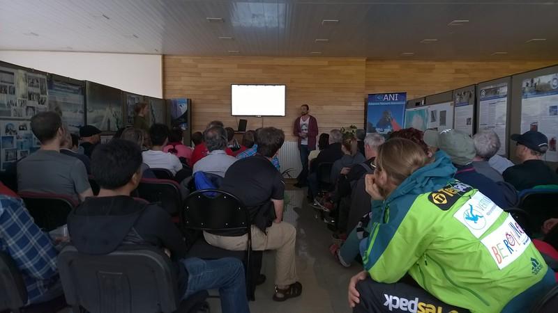 Antarctica orientation at ALE office - Punta Arenas.<br /> Mark meteorologist speaking.