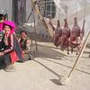 Tibetan meat saleswomen. Tingri  - Tibet (12,586ft/4.380m).