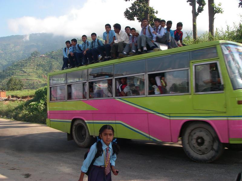 Nepali school bus - Panchkal, Nepal (6,234ft/1.900m).