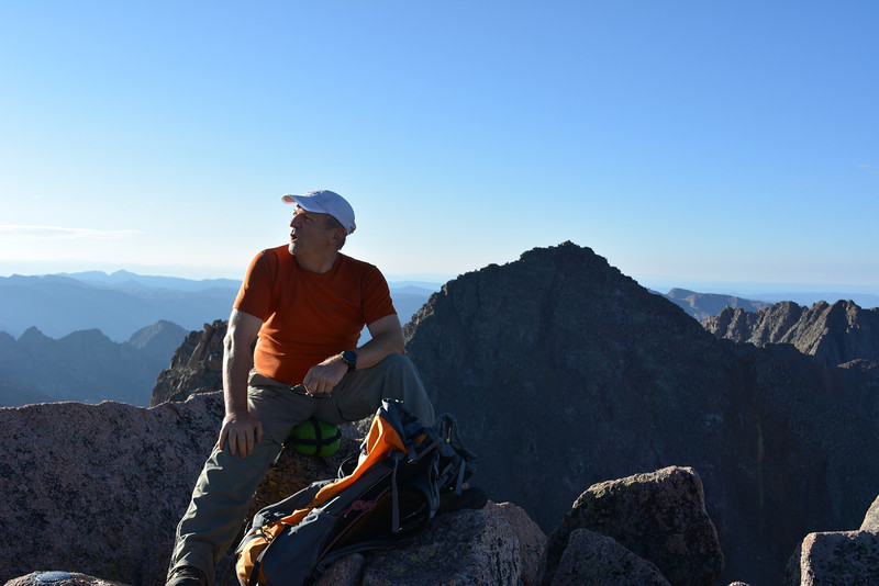 At Sunlight Peak (14,059ft = 4.285m).<br /> Behind me is Windom Peak (14,082ft = 4.292m) – our next goal that day.