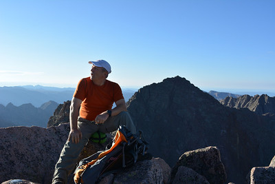 At Sunlight Peak (14,059ft = 4.285m). Behind me is Windom Peak (14,082ft = 4.292m) – our next goal that day.