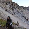 Kenan approaching Mount Eolus (14,083ft = 4.292m).