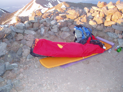I spent night at the top at 12,631ft (3,850m).