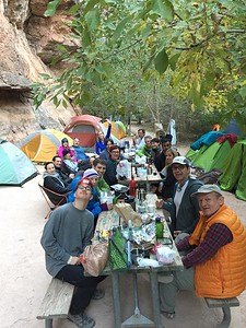 Enjoying dinner at Havasupai campsite