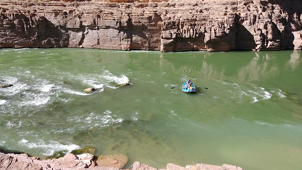 Rafters at Colorado River confluence (2,093 ft)