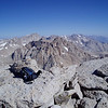 View towards Mt. Whitney, Mt. Russell, Mt. Corcoran and Mt. Mallory. Mt. Williamson in the background (right)