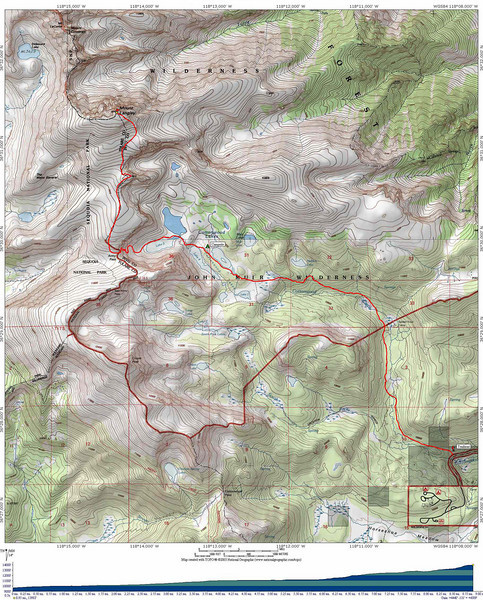 Mt. Langley topo map.<br /> Getting there:<br /> Take US-395 to Lone Pine, CA, and head west on Whitney Portal Road. After a couple of miles, turn left at a sign to Horseshoe Meadows Road and follow it to the Cottonwood Lakes/Army Pass trailhead. Make sure you turn right at the sign indicating Cottonwood Lakes, otherwise you will end up at the trailhead for Cottonwood Pass. There is a walk-in campground, bear boxes and toilets at the trailhead, as well as ample parking.