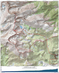 Mt. Langley topo map. Getting there: Take US-395 to Lone Pine, CA, and head west on Whitney Portal Road. After a couple of miles, turn left at a sign to Horseshoe Meadows Road and follow it to the Cottonwood Lakes/Army Pass trailhead. Make sure you turn right at the sign indicating Cottonwood Lakes, otherwise you will end up at the trailhead for Cottonwood Pass. There is a walk-in campground, bear boxes and toilets at the trailhead, as well as ample parking.