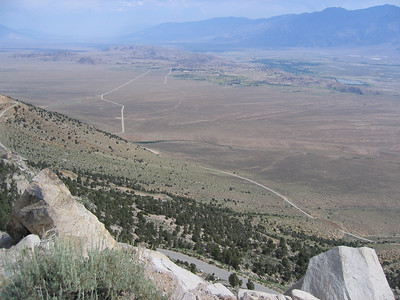 View down to Owens Valley from Horseshoe Meadow Road. Alabama Hills, Lone Pine (green area) and Diaz Lake (right)