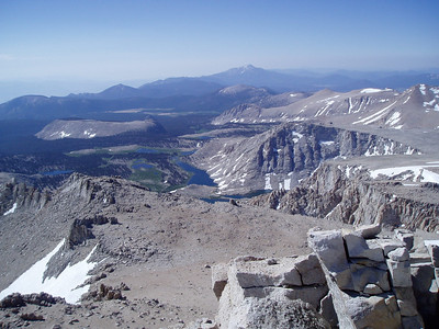 View from the Langley summit to the Cottonwood Lakes Area. Olancha Peak in background.