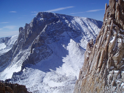 View on the Mt. Whitney, just below the Mt. Russell's summit. Mt. Whitney's North Side. Mountaineer's Route is behind lighted ridge. The Notch is visible on the end of the ridge