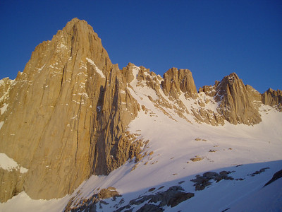 Mountaineer's route approaches Mt Whitney from the north-east (right)