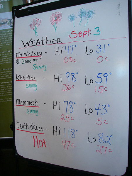 It was Labor Day weekend 2010.<br /> Friday - September 3rd - clear sky.<br /> The board in Lone Pine visitor center is showing 118 F = 48 C for nearby Death Valley.