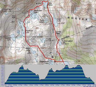 5 miles loop through magnificent glacial lakes in vicinity of Tioga Pass (Yosemite National Park) with elevation profile