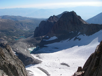 There is an outstanding view of the Palisade Glacier and surrounding peaks from the notch separating the North and South summits of Thunderbolt.