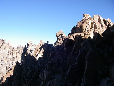 At the top of the Southwest Chute, Thunderbolt Peak is directly to your right