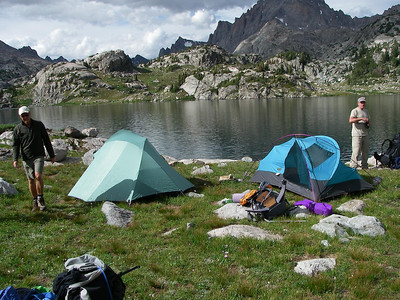 Our camp at Island Lake (10,344ft = 3.153m).