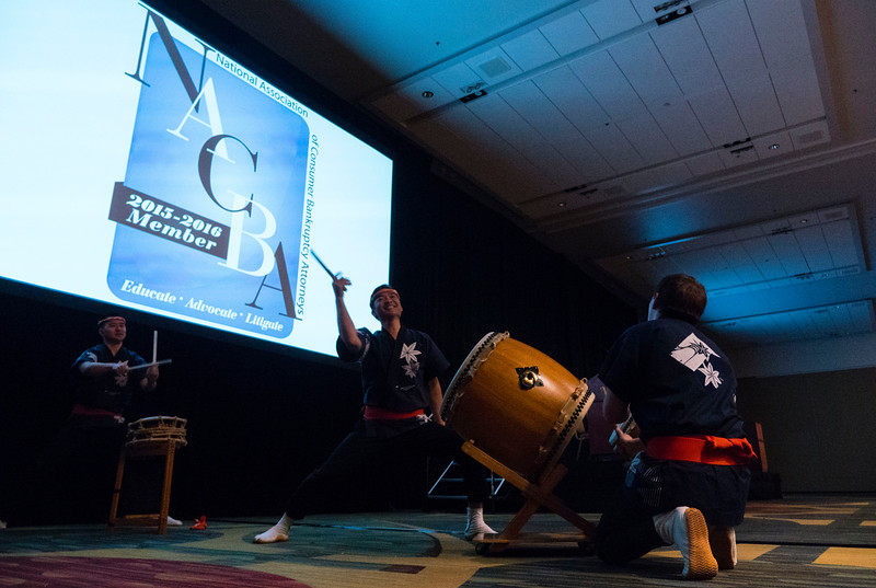 Taiko drummers during Friday opening session
