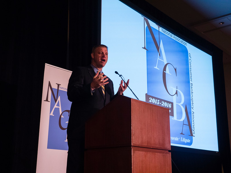 Dan LaBert, NACBA Executive Director, speaks during Friday opening session