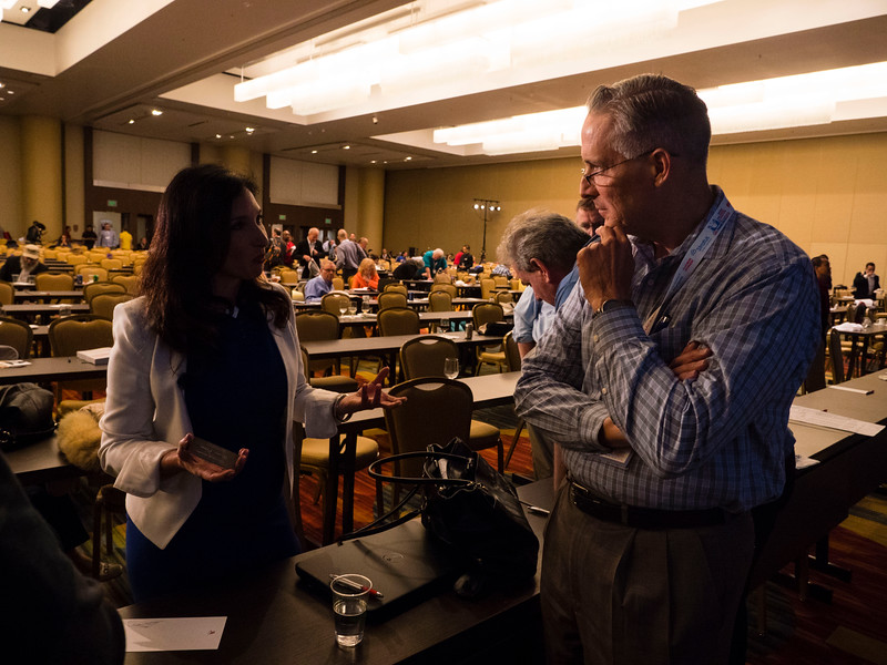 Nomi Prins speaks with attendees during Keynote lecture