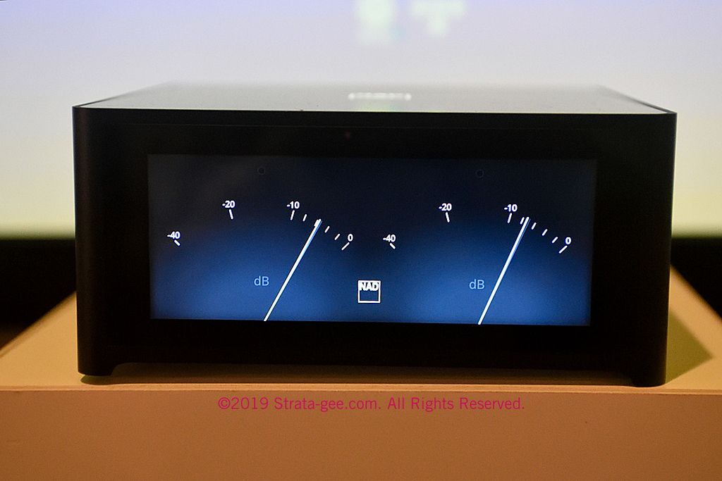 Photo of M10 front panel with screen set to show analog level meters