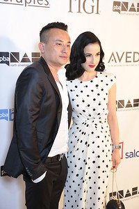Dita Von Teese with John Blaine, Creative Director of Obliphica Professional at the 2013 NAHAs