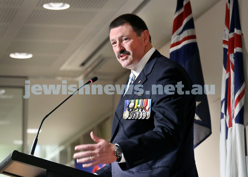 NAJEX ANZAC Day Ceremony at The SJM. Guest speaker Colonel Michael Kelly. Pic Noel Kessel.